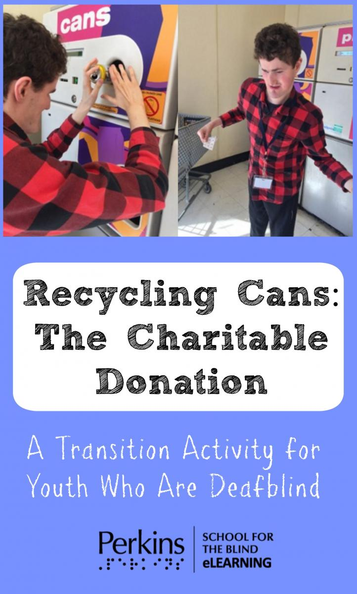 Collage of recycling cans and the charitable donation