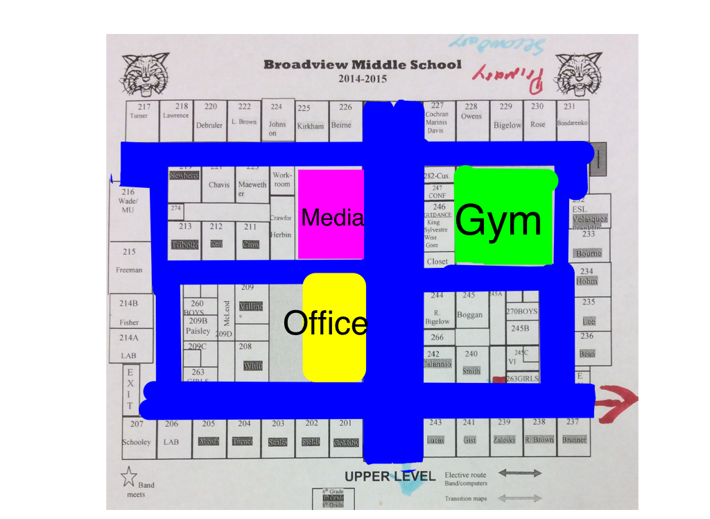 Annotated school map with blue hallways and colored Media Center, Office and Gym.