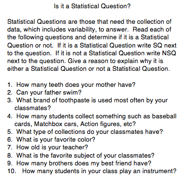 What is a statistical question? | Perkins eLearning