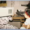 Mother and baby at a eye exam