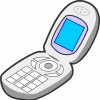 Drawing of a flip phone.