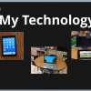 "Image: Cover of an iBook, Titled ""My Technology"", with images of an iPad, laptop and video magnifier"