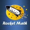 """image of a rocket flying through space with the text, """"Rocket Math""""."""