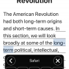 Screenshot of Speak Screen reading American Revolution text with the popup speak screen menu.