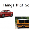 "Image of book cover with a red sports car and a small yellow school bus with text, ""Things that Go"""