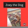 Cover of a digital book titled Zoey the Dog. The title and a picture of a golden retriever puppy are on the cover.