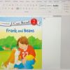 computer screenshot of book cover image, Frank and Beans, in a Word document with alt text pane open