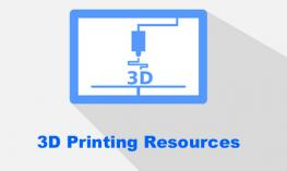 "outline image of 3D printer with text, ""3D Printing Resources"""