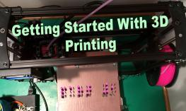 """""""Getting Started with Printing"""": Photo of a 3D printer with a 3D printed braille letters, """"Part 1""""."""