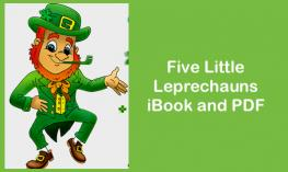 "cartoon leprechaun and text, ""5 little leprechauns iBook & PDF"""