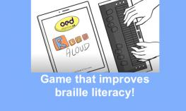 "Cartoon hands on a Braille Display with an iPad showing ObjectiveEd Read Aloud and text, "" Game that improves braille literacy!"""