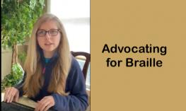 "Kaleigh, 17 year old with long blond hair with hands on a braille notetaker and text, ""Advocating for Braille"""