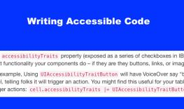 """Image with the text """"Writing Accessible Code"""" and lines of code terminology."""