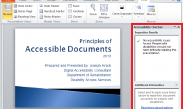 Screenshot of a PowerPoint with Accessibility Checker Menu open.