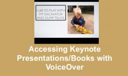 "Screenshot of All About Me keynote presentation and text, ""Accessing Keynote Presentations/books with VoiceOver"""