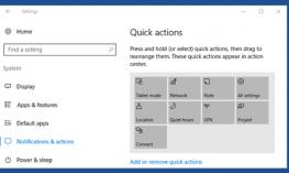 Screenshot of Windows 10 Settings with Notifications & actions button selected.