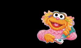 Sesame Street character smiles while holding toothbrush and toothpaste