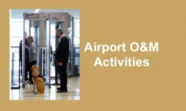 """Woman going through airport metal detector with guide dog in sit-stay; text, """"Airport O&M Activities"""""""