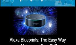 "Image of Alexa with  ""Create Alexa skills in minutes""; and title of post ""Alexa Blueprints: the easy way to make your own skills"