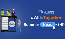 "Image of cartoon readers sitting on and standing around a digital book and ""Bookshare #AllInTogether Summer Read-a-thon"""