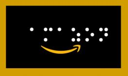 "Amazon's 'smile' logo with the text, ""amazon"" written in braille dots."