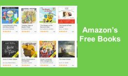 "screenshot of 8 Audible book covers and text, "" Amazon's Free Books"""