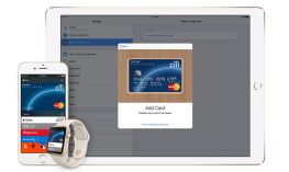 iPad, iPhone and Apple Watch displaying Apple Pay.