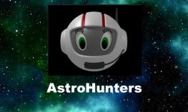 """Image of CosmoBally - a Ballyland astronaut character - and text, """"AstroHunters"""" with space and stars background."""