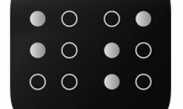 "Logo: Black background with white""bs"" in braille."