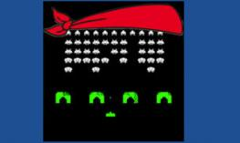 Blindfold Space Invaders logo. Space invaders image with the red, Blindfold logo across the top.