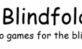 "Blindfold Games banner with text, ""Blindfold Games, audio games for the blindness community"""