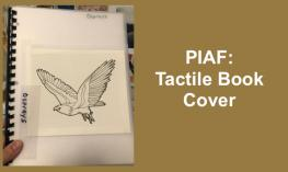 "Photo of braille Ospreys book with tactile image of an osprey and text, ""PIAF: Tactile Book Cover"""