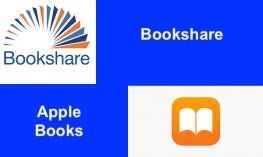 "Bookshare and Apple Books logos with text, ""Bookshare, Apple Books"""