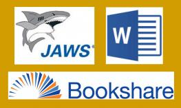 Logos for JAWS, Word and Bookshare