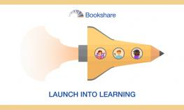 Bookshare's Launch into Learning Logo with an illustration of students in a pencil shaped rocket ship