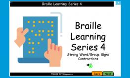 Screenshot of the Boom Deck cover: icon of the ABC's in simulated braille with the image of a hand reading the Braille.