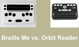 "Photos of Braille Me and Orbit Reader 20; text, ""Braille Me vs. Orbit Reader"""