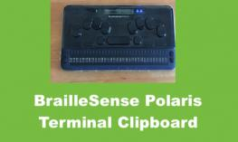 Photo of a BrailleSense Polaris: a Braille Notetaker with a 32-cell refreshable braille display,