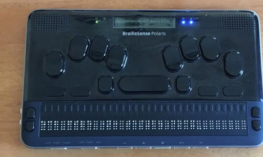 BrailleSense Polaris braille notetaker with a 32-cell refreshable braille display, Perkin's style keyboard & LCD displa