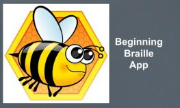 "BrailleBuzz logo with text, ""Beginning Braille App"""