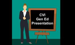 """Cartoon image of woman standing in front of a blackboard with """"CVI Gen Ed Presentation"""""""