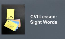 "Photo of individual sight words flashcards on a ring with  text, ""CVI Lessons: Sight Words"""