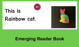 "A page from the Rainbow Cat book with text, ""This is Rainbow Cat"" and image of painted ceramic cat."