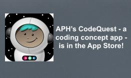 "Cartoon astronaut character and text, ""APH's CodeQuest - a coding concept app - is in the App Store!"""