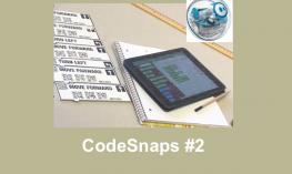 "Code Blocks sequence for Course 1, with CodeSnaps app on iPad, Sphero ball and text, ""CodeSnaps #2"""