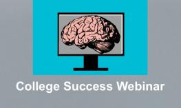 """Cartoon computer monitor with image of a brain and text, """"College Success Webinar"""""""