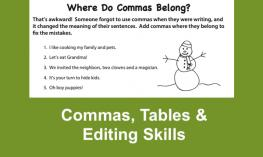 "Screenshot of Where Do Commas belong? worksheet with fun sentences with missing commas like, ""Let's eat Grandma!"""