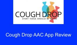 "Cough Drop logo ""Cough Drop, Every Voice Should Be Heard"" and text, ""Cough Drop AAC App Review"""