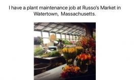 """Screenshot from ebook with image of working area in a flower shop and text, """"I have a plant maintenance job at Russo's Market."""""""