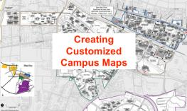 "Text: ""Creating Customized Campus Maps"" with background of NCSU Main Campus map."